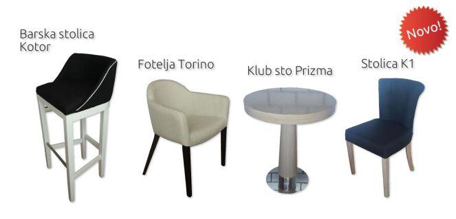Novi proizvodi - Barska stolica Kotor, Fotelja Torino, Klub sto Prizma, Stolica K1